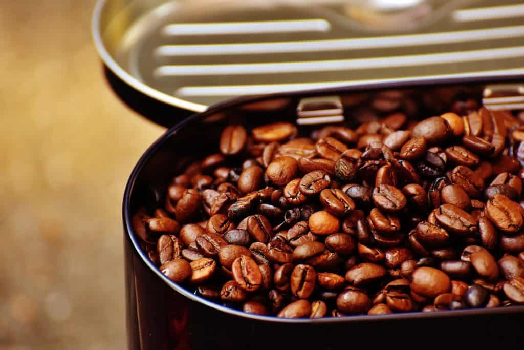 Coffee Beans in tin storage