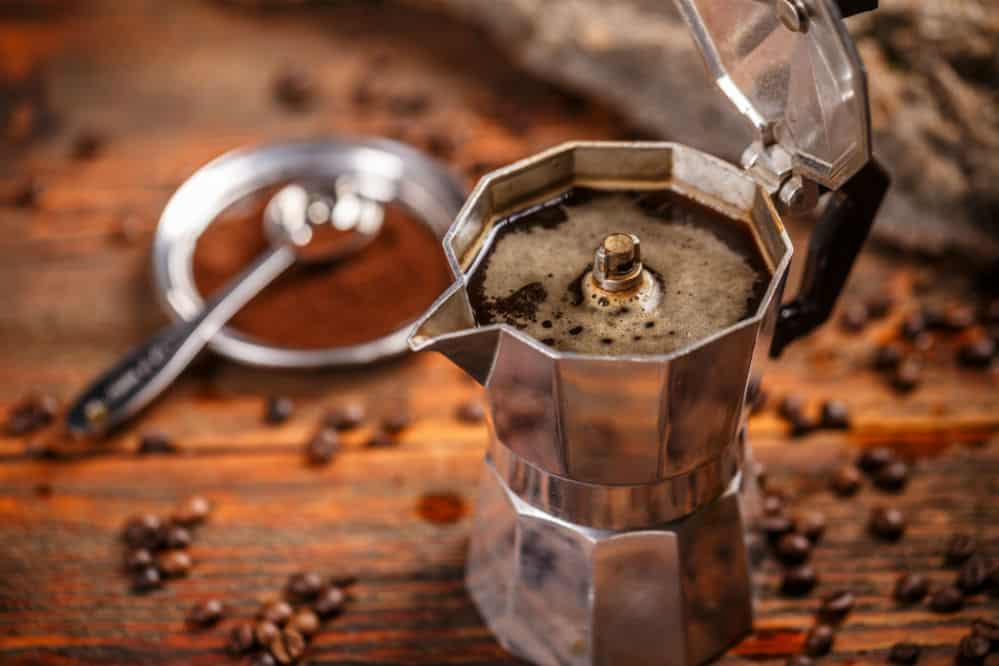 Moka pot coffee maker and coffee beans