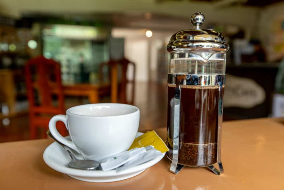 French press coffee port and cup