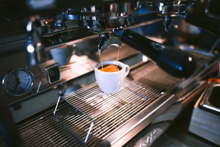 A Pouring Commercial Espresso Machine