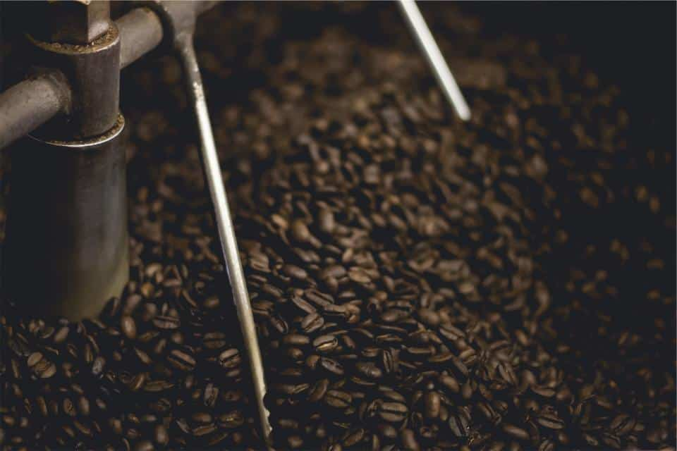 coffee beans in roaster drum